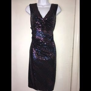 DAVID MEISTER 8 Navy Sequin Cocktail Party Dress